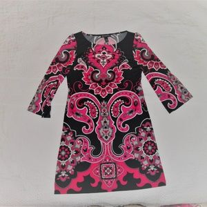 Womens Jrs Abstract Print Dress Pink Black Sz M